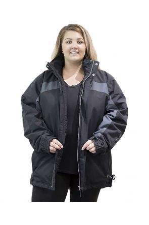 AGGRESSION TRINIDAD WOMENS/MENS PLUS SIZE SKI JACKET BLACK SIZES 7XL - 10XL