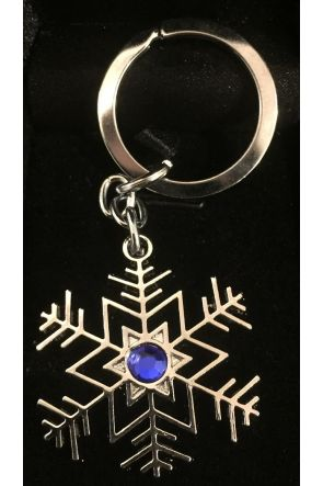 Matilda Blue Stone Inset Silver Snowflake Keyring