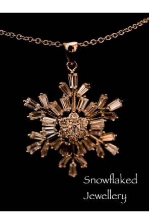 Monica Snowflake Baguette Crystal Pendant Necklace Womens Jewellery 1