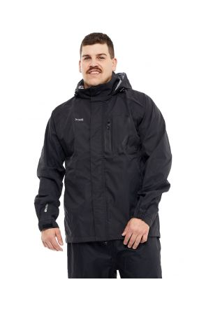 XTM KAKADU MENS PLUS SIZE RAIN JACKET BLACK FRONT