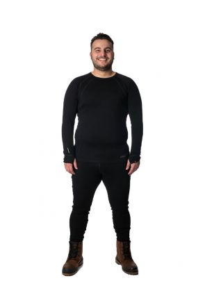 XTM Siberia Mens Plus Size Ski Merino Thermal Top Black - Front