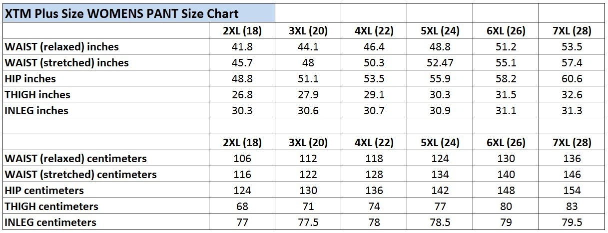 XTM Womens Plus Size Pants Size Chart 2018