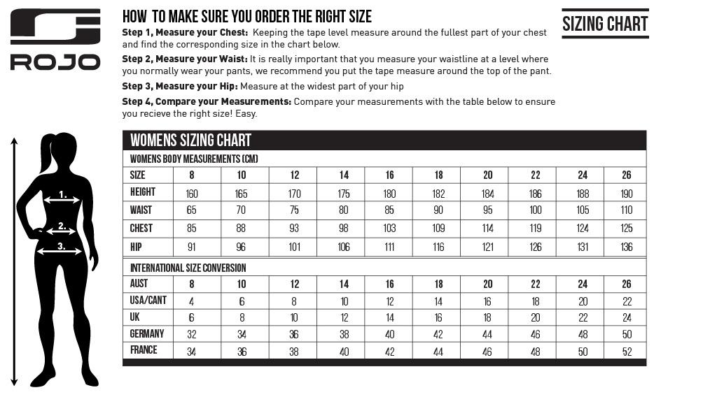 Rojo Womens Size Chart