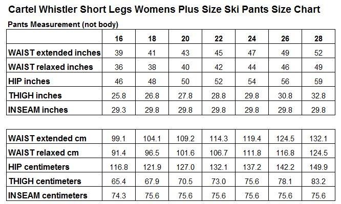 Cartel Whistler Ladies Plus Size Ski Pant Size Chart