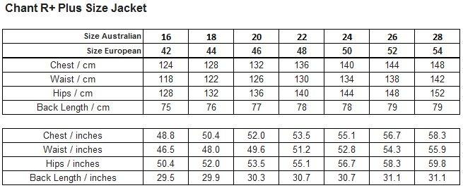 Raiski Chant R+ Womens Plus Size Jacket Size Chart