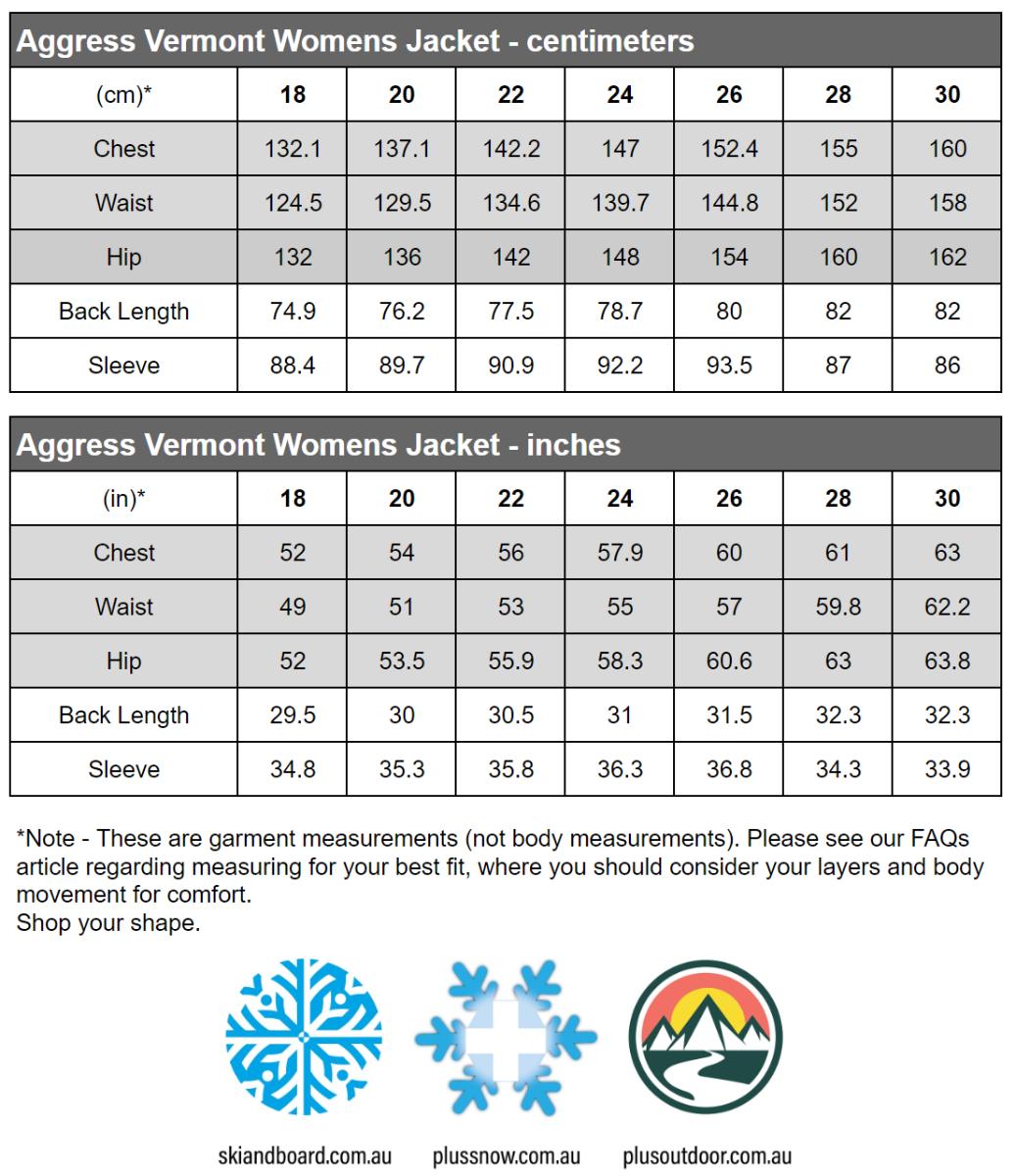 Aggress Vermont Womens Plus Size Snow Jacket Purple Size Chart