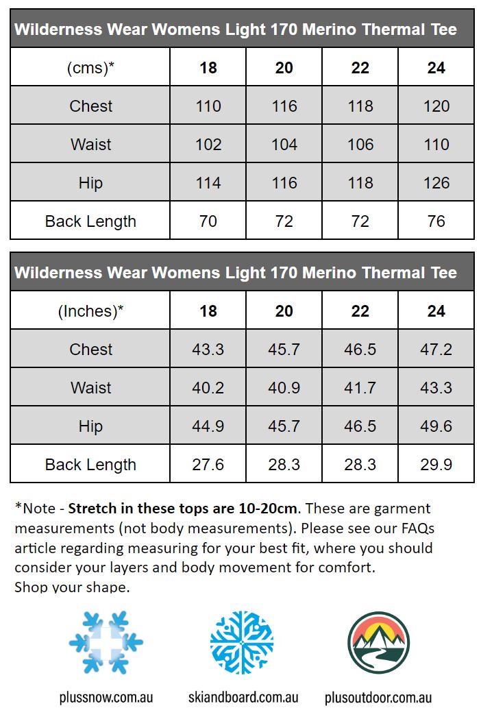 WILDERNESS WEAR WOMENS LIGHT MERINO 170 PLUS SIZE T-SHIRT BLACK size chart
