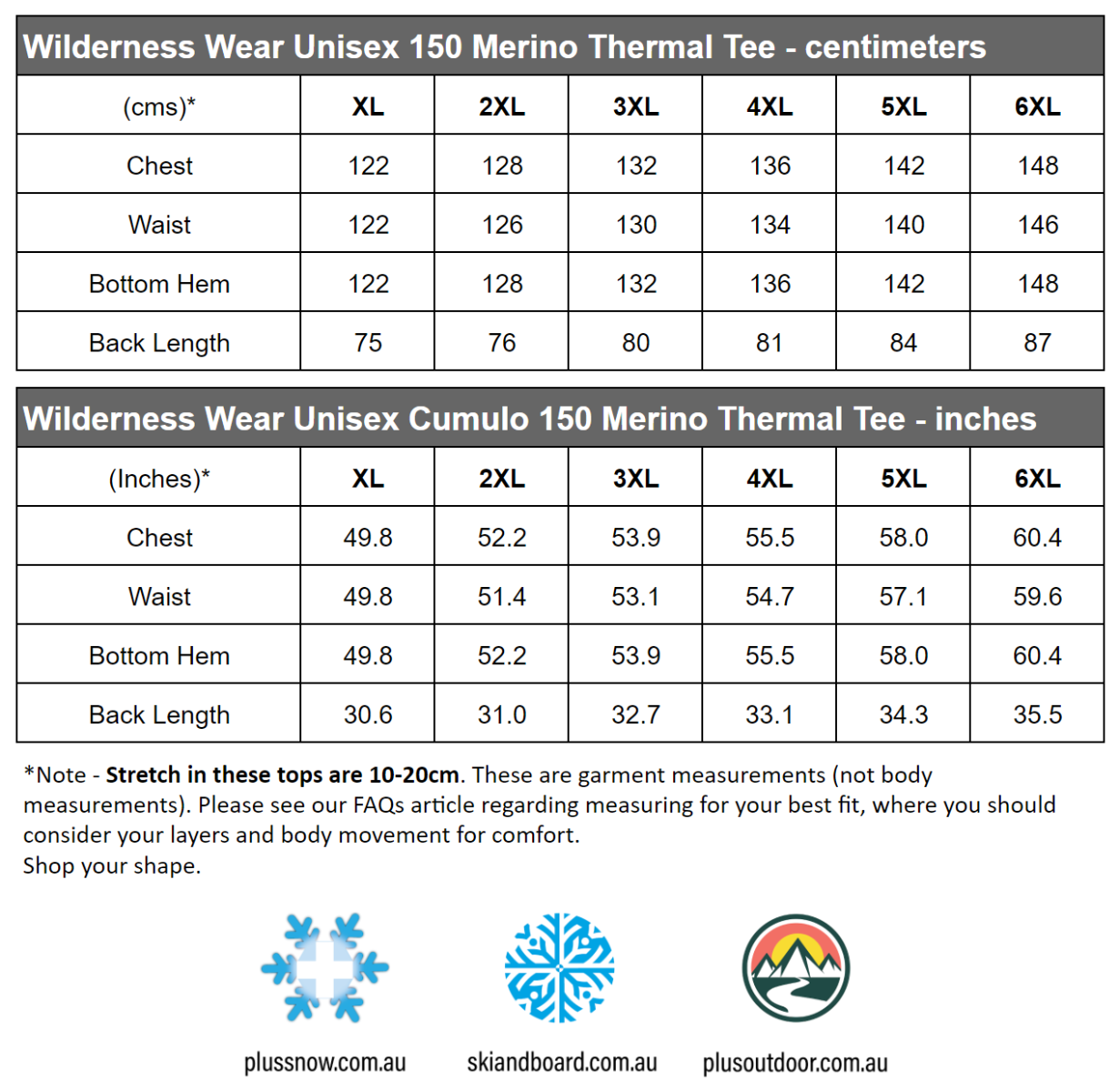 Wilderness Wear Mens Plus Size Cumulo 150 Short Sleeve Tee Top mens size chart snip
