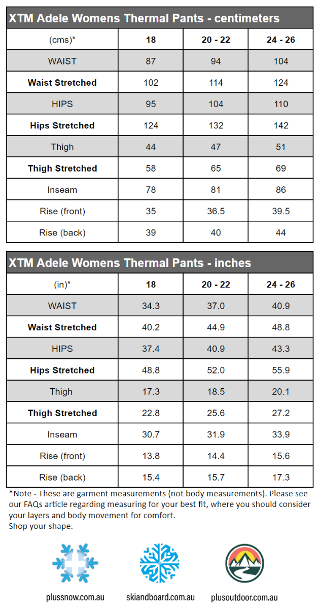 XTM Adele Merino Wool Womens Plus Size Thermal Pant Pattern size chart snip