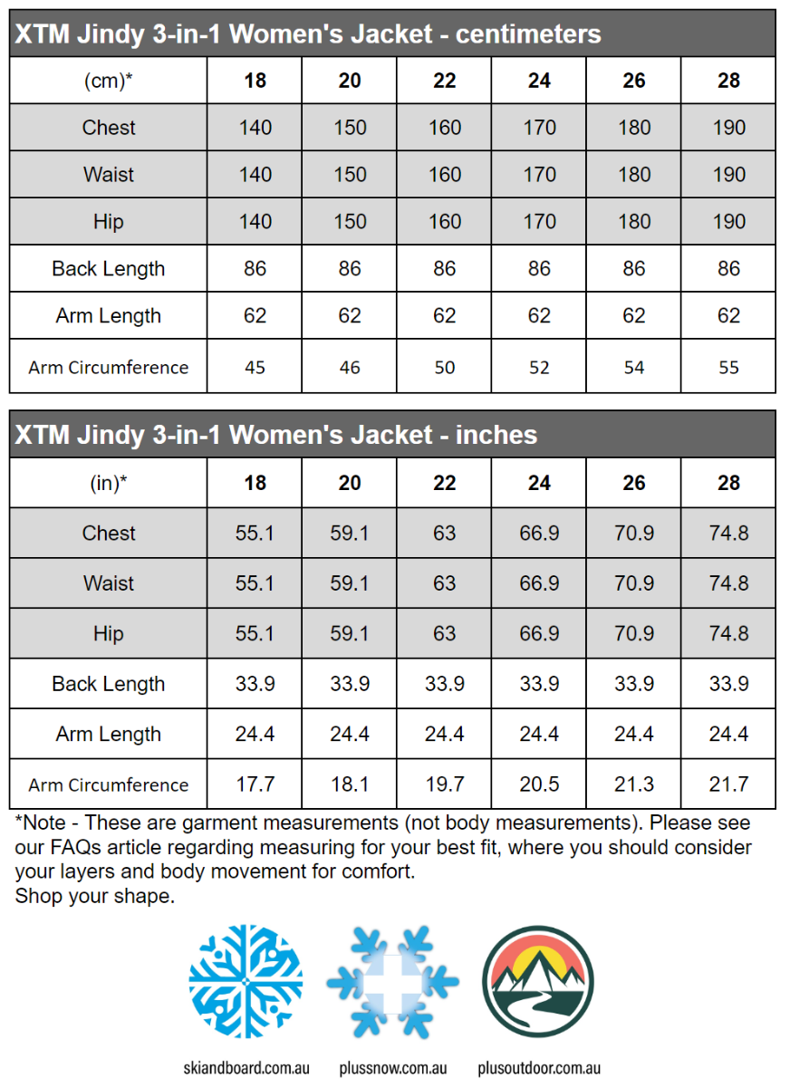 XTM Jindy Womens 3 in 1 Plus Size Snow Outdoor Jacket size chart snip