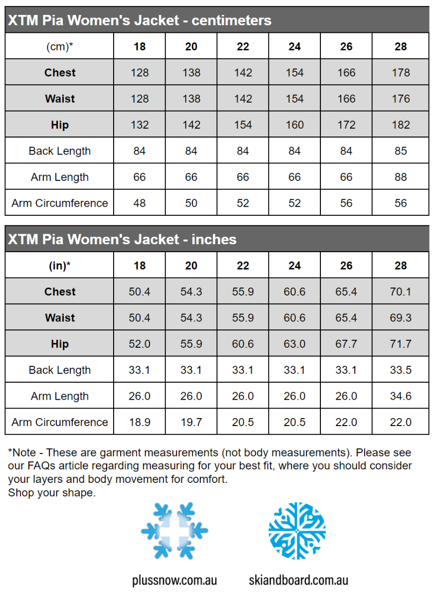 XTM Pia Womens Plus Size Ski Jacket Black Floral Sizes 18 - 28 size chart