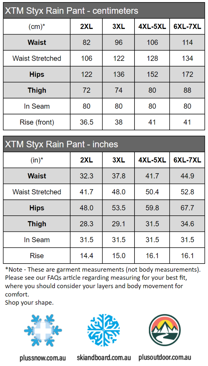 XTM Styx Plus Size Rain Pant Waterproof size chart for Men