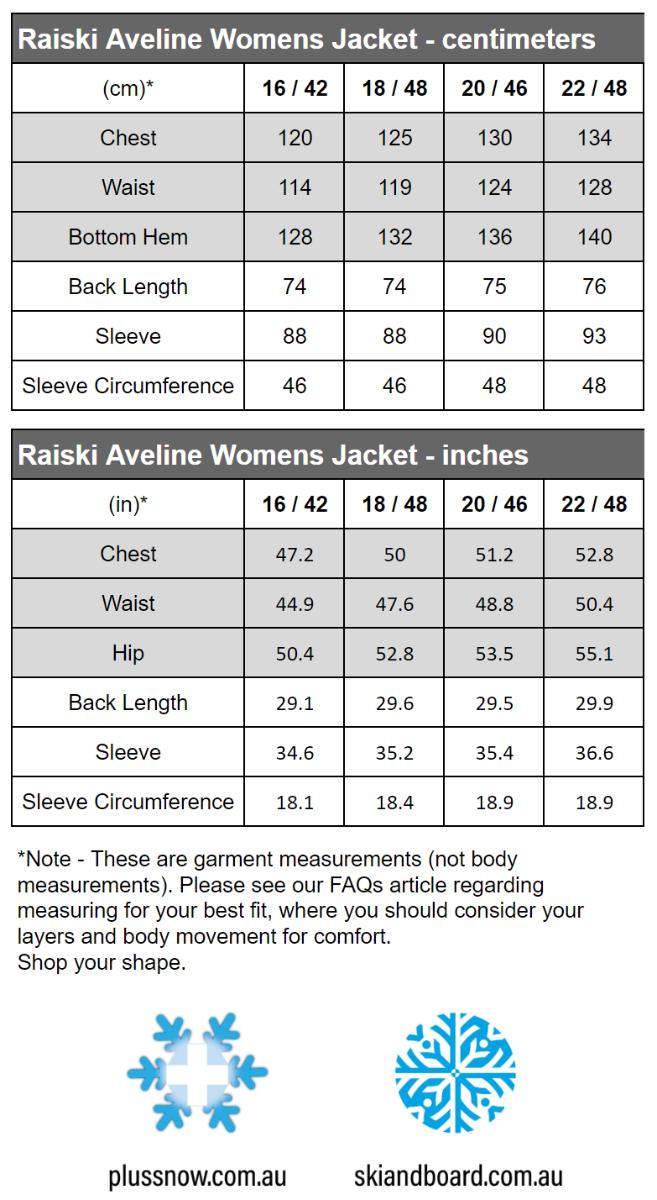 Raiski Aveline R+ Womens Plus Size Snow Jacket Navy Size 20 size chart snip