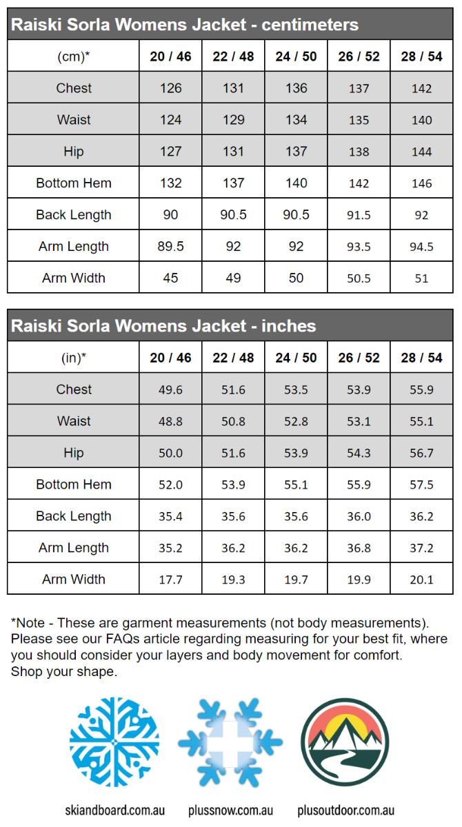 Raiski Sorla R+ Womens Plus Size Snow Jacket Black Sizes 20-28 size chart snip