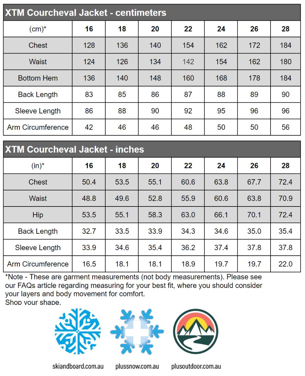 XTM Courcheval Womens Plus Size Long Snow Jacket Black 16-28 size chart