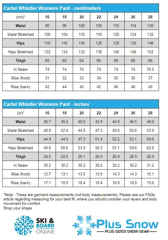 Cartel Whistler Womens Purple Ski Pants Measurement Chart